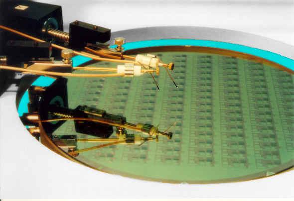 Wafer probe tests circuits using needles