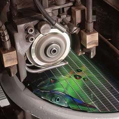 Dicing saw separates silicon wafer into individual die